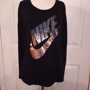 NIKE large black long sleeve gold foil logo shirt